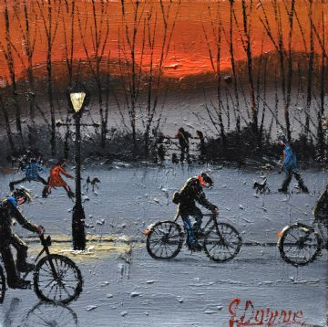 James Downie Original Oil Painting The Dog Walkers